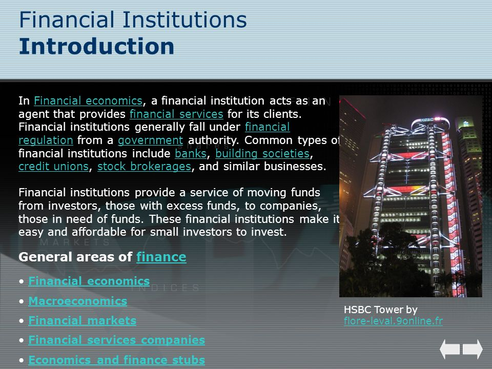 Financial Institutions Introduction