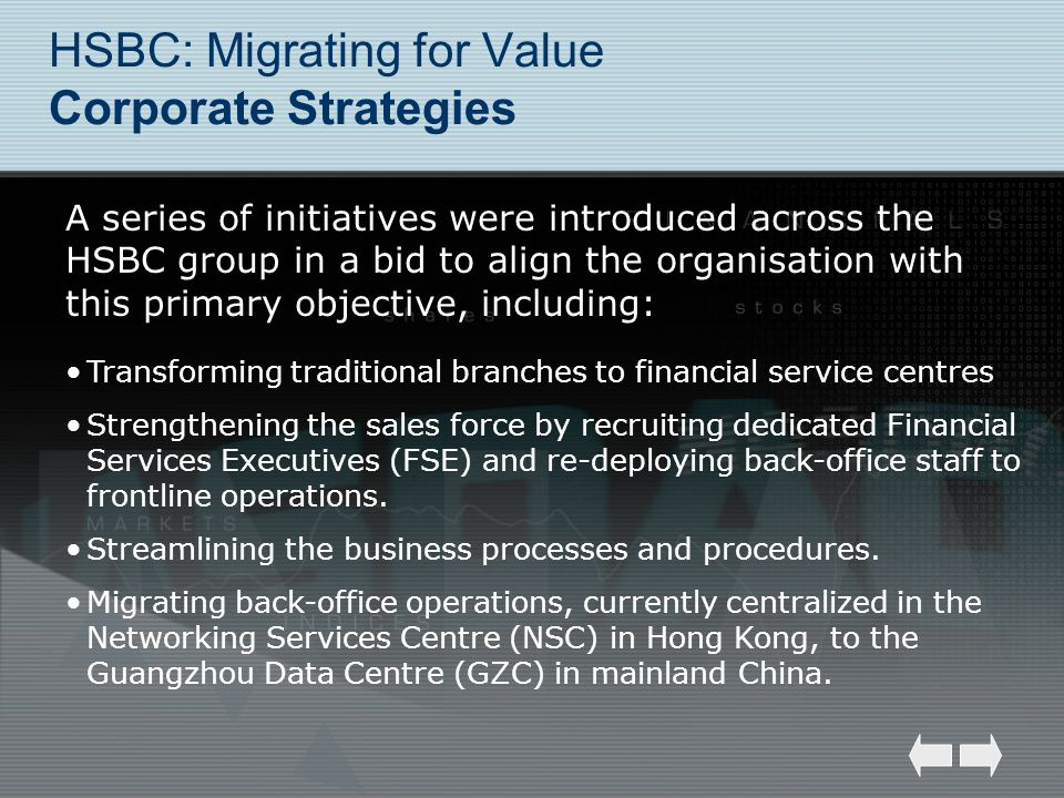 HSBC: Migrating for Value Corporate Strategies