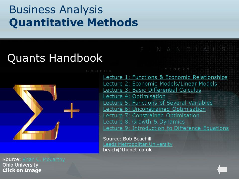 Business Analysis Quantitative Methods