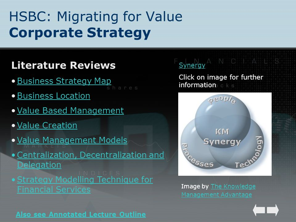 HSBC: Migrating for Value Corporate Strategy