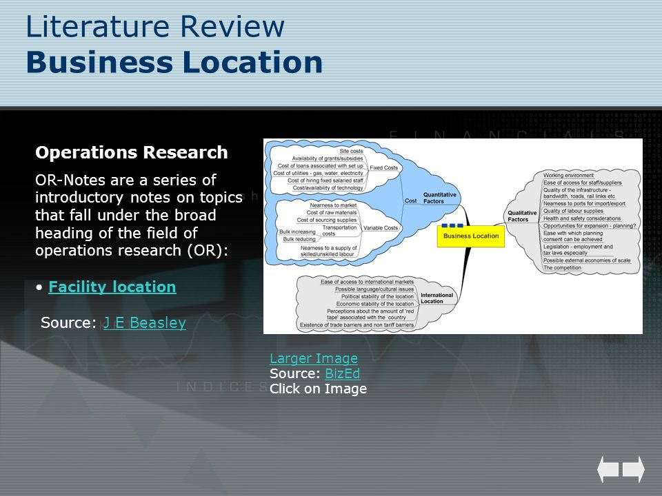 Literature Review Business Location