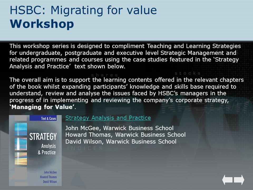 HSBC: Migrating for value Workshop