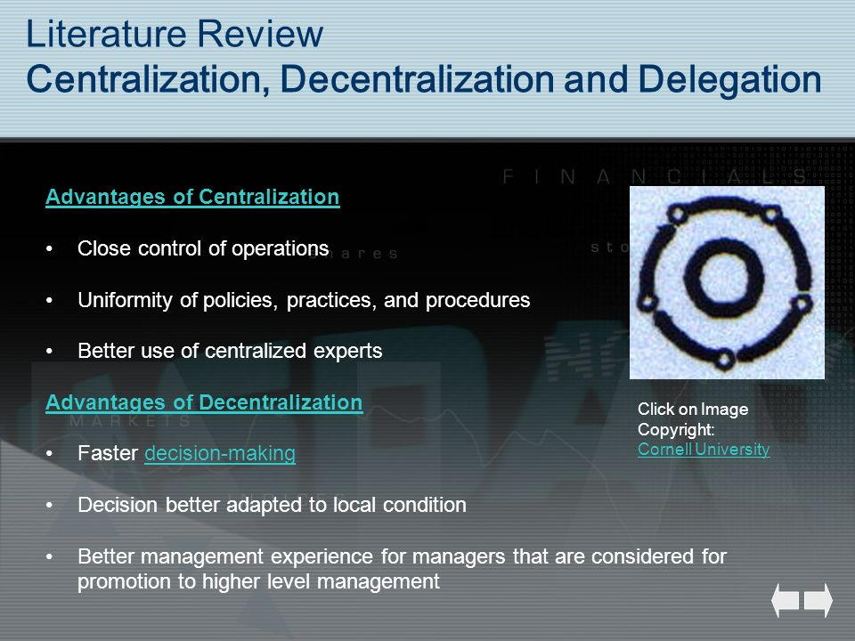 Literature Review Centralization, Decentralization and Delegation