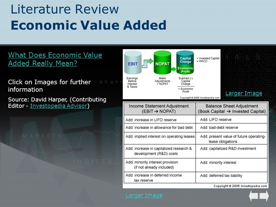 Literature Review Economic Value Added