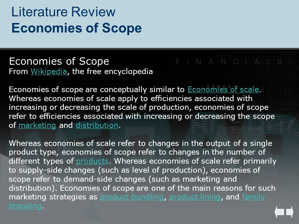 Literature Review Economies of Scope