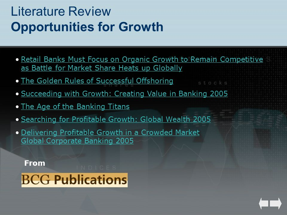 Literature Review Opportunities for Growth