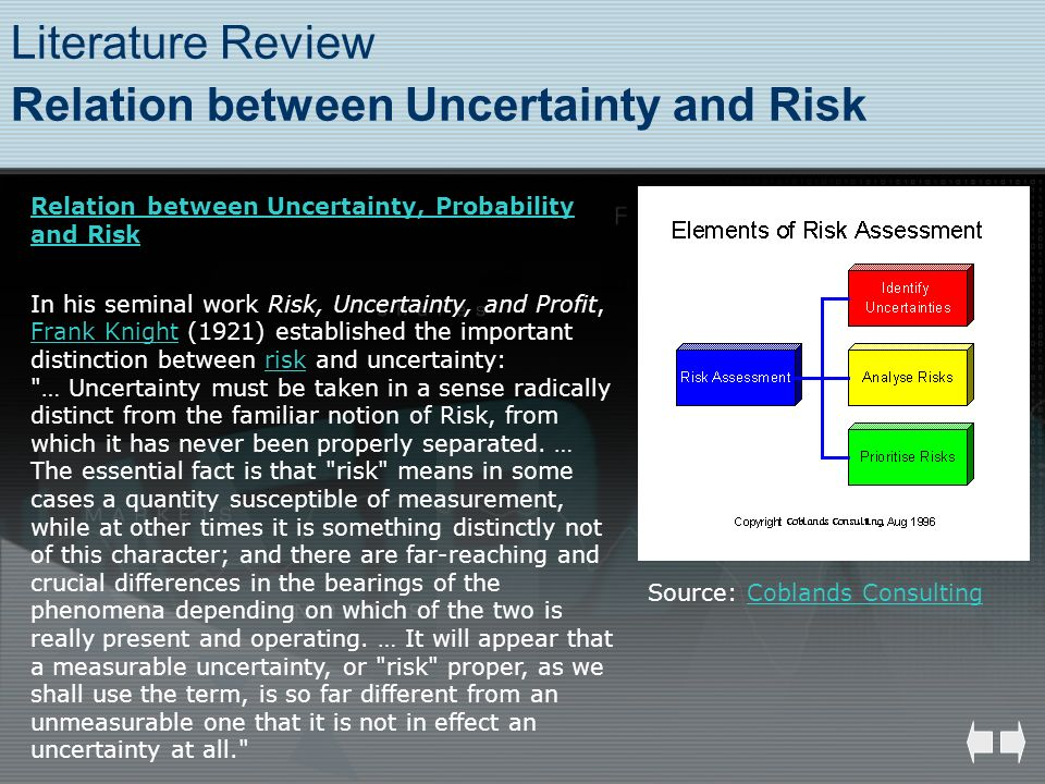 Literature Review Relation between Uncertainty and Risk