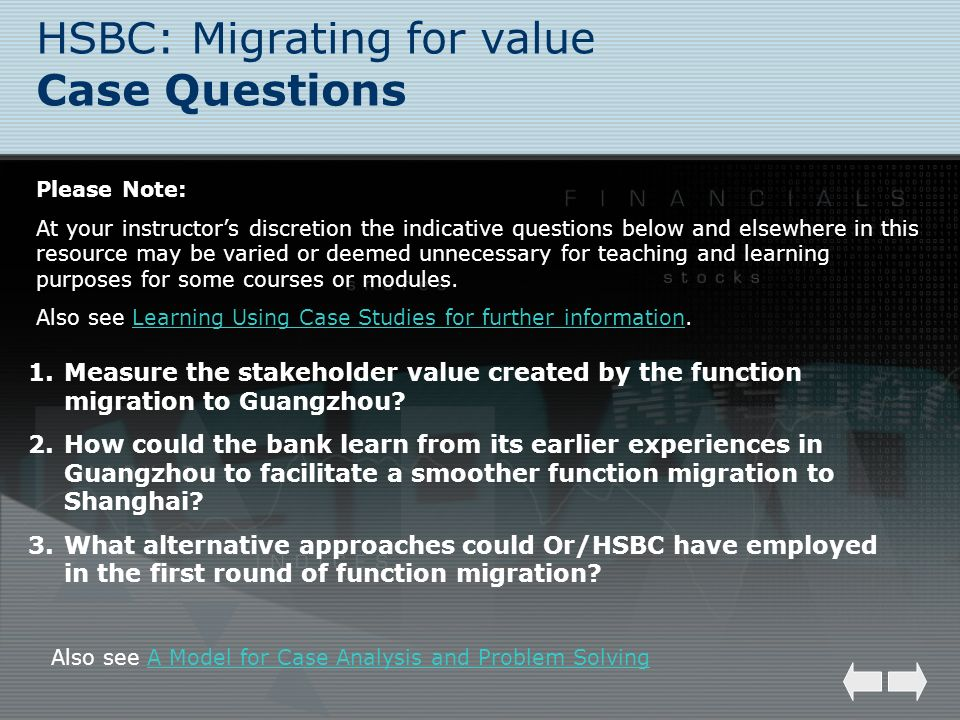 HSBC: Migrating for value Case Questions