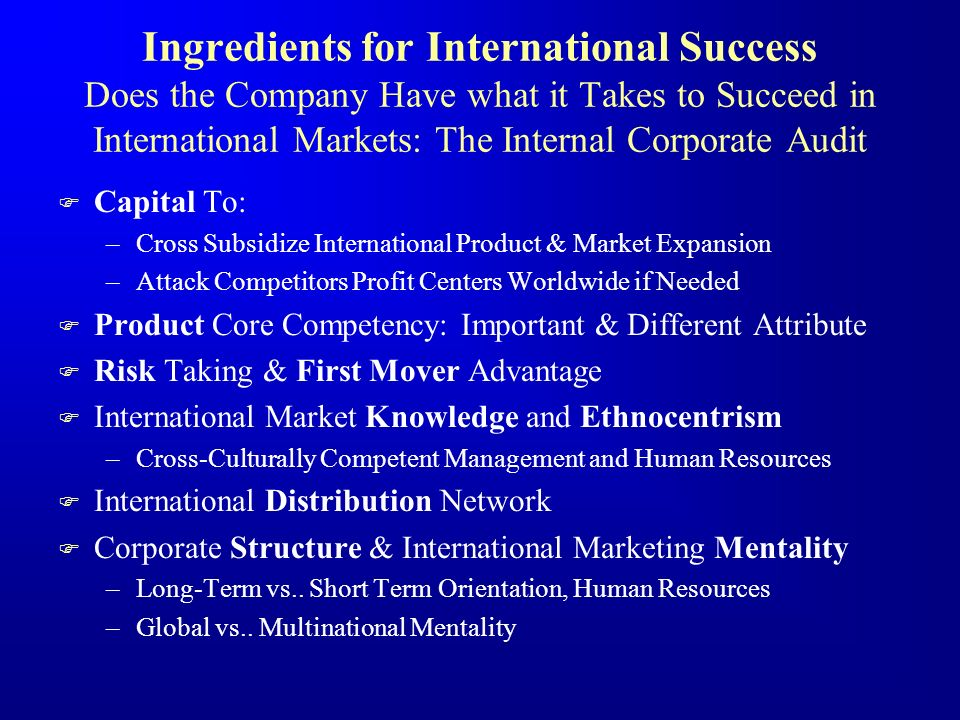Ingredients for International Success Does the Company Have what it Takes to Succeed in International Markets: The Internal Corporate Audit