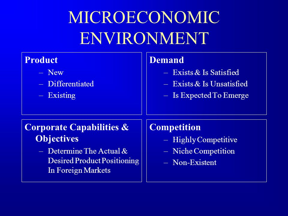 MICROECONOMIC ENVIRONMENT