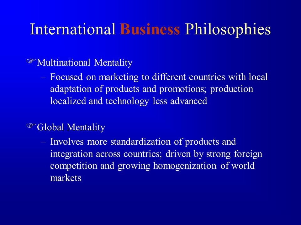 International Business Philosophies