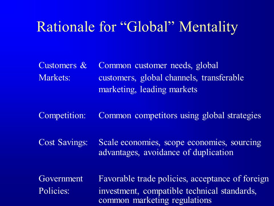 Rationale for Global Mentality