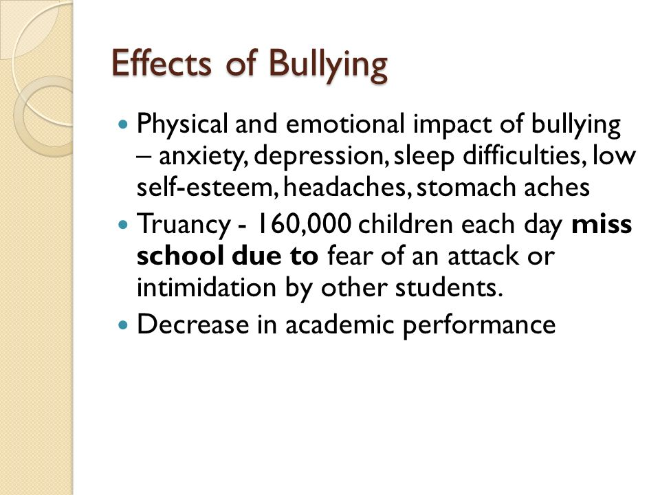 effects of bullying on school achievement This chapter critically analyzes extant literature on the relationship of bullying and school achievement many studies have been made on the.