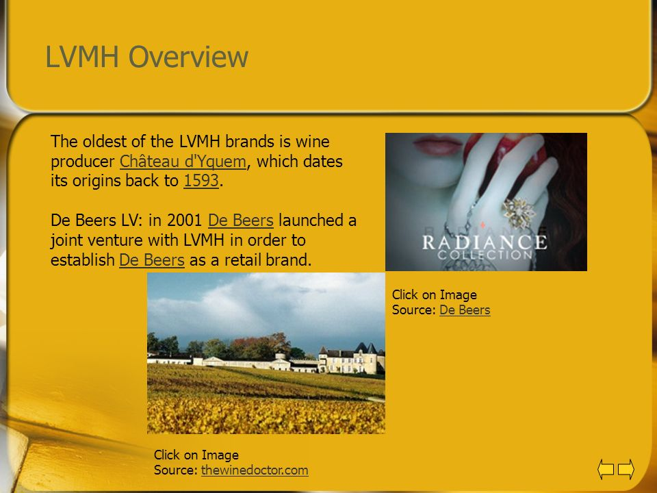 LVMH Overview The oldest of the LVMH brands is wine producer Château d Yquem, which dates its origins back to 1593.