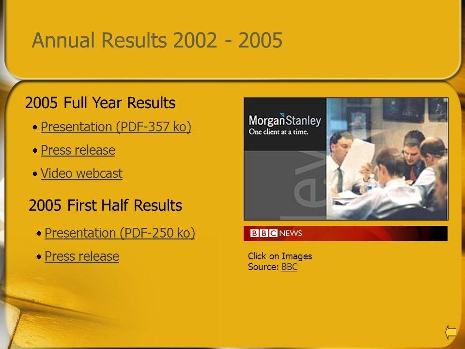 Annual Results 2002 - 2005 2005 Full Year Results