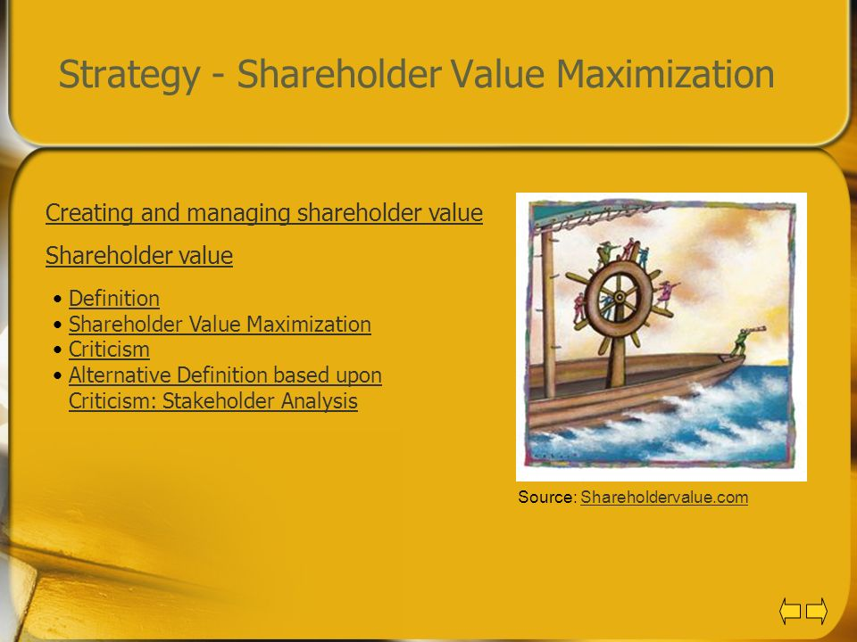 strategies for maximizing shareholder wealth Corporate financial management: strategies for maximizing shareholder wealth / edition 1 this book reflects the most current approaches in corporate financial management and shows financial professionals how approaches such as abc, abm, tqm, jit, total customer satisfaction, and value chain management can influence business performance in order .