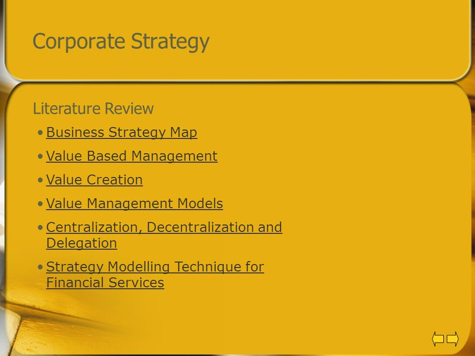 Corporate Strategy Literature Review Business Strategy Map