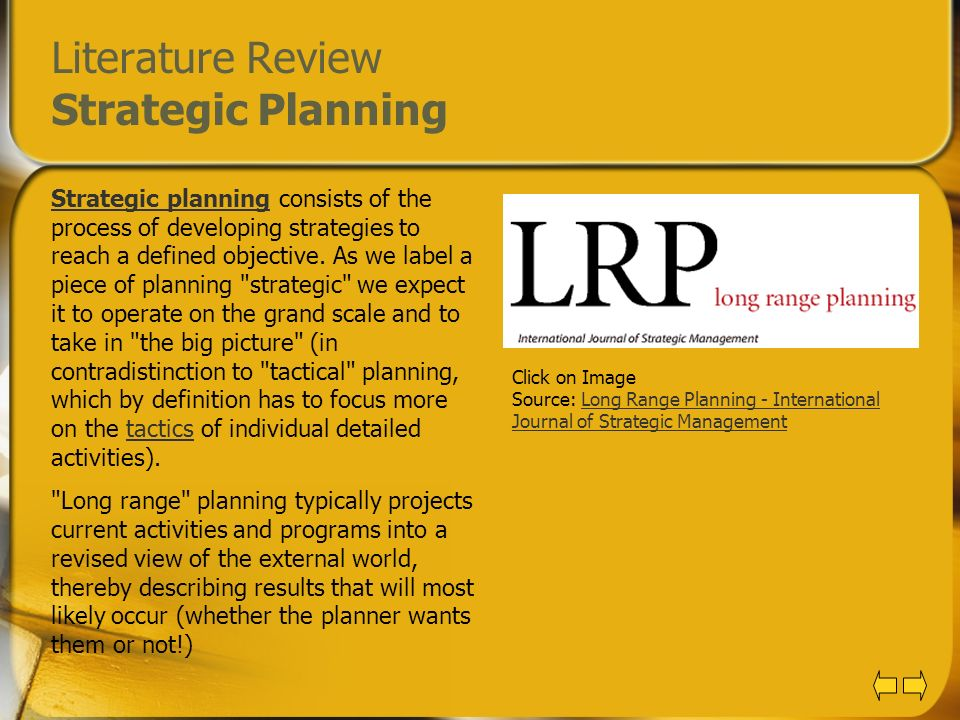 Literature Review Strategic Planning