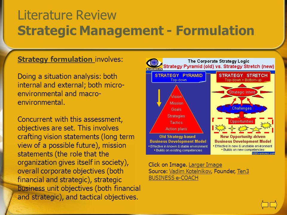 Literature Review Strategic Management - Formulation