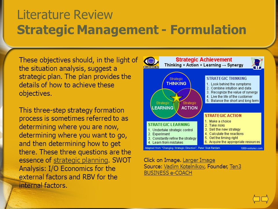 Strategic Management - Literature review Example