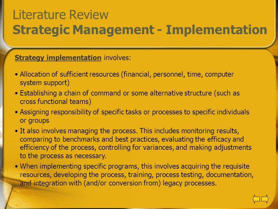Literature Review of Strategic Management