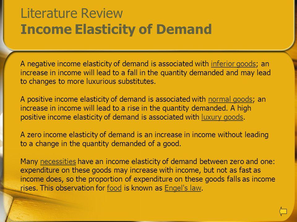 Literature Review Income Elasticity of Demand