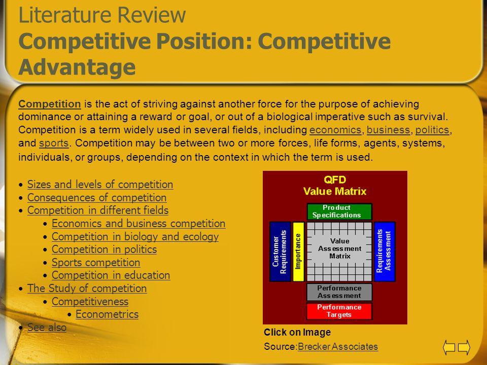 Literature Review Competitive Position: Competitive Advantage