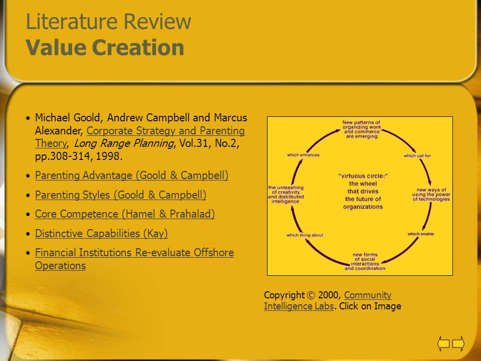Literature Review Value Creation