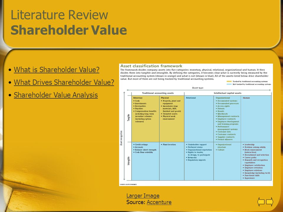 Literature Review Shareholder Value
