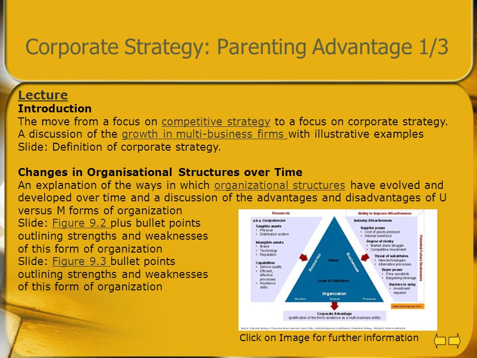 Corporate Strategy: Parenting Advantage 1/3