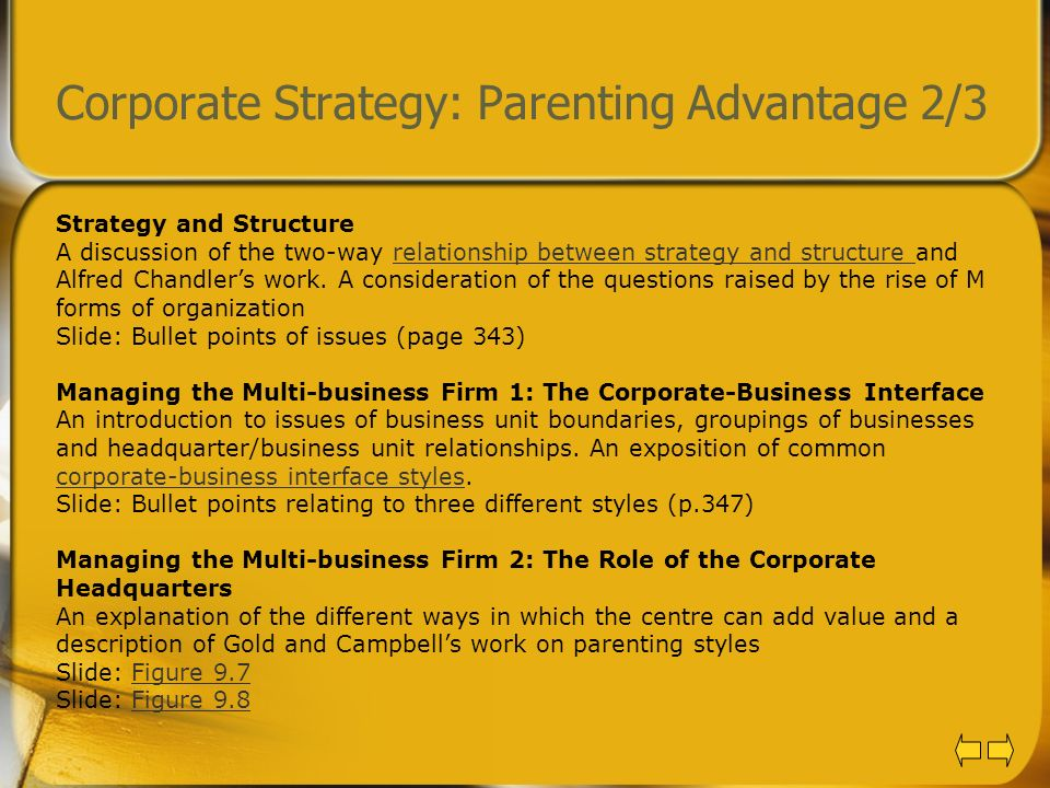 Corporate Strategy: Parenting Advantage 2/3