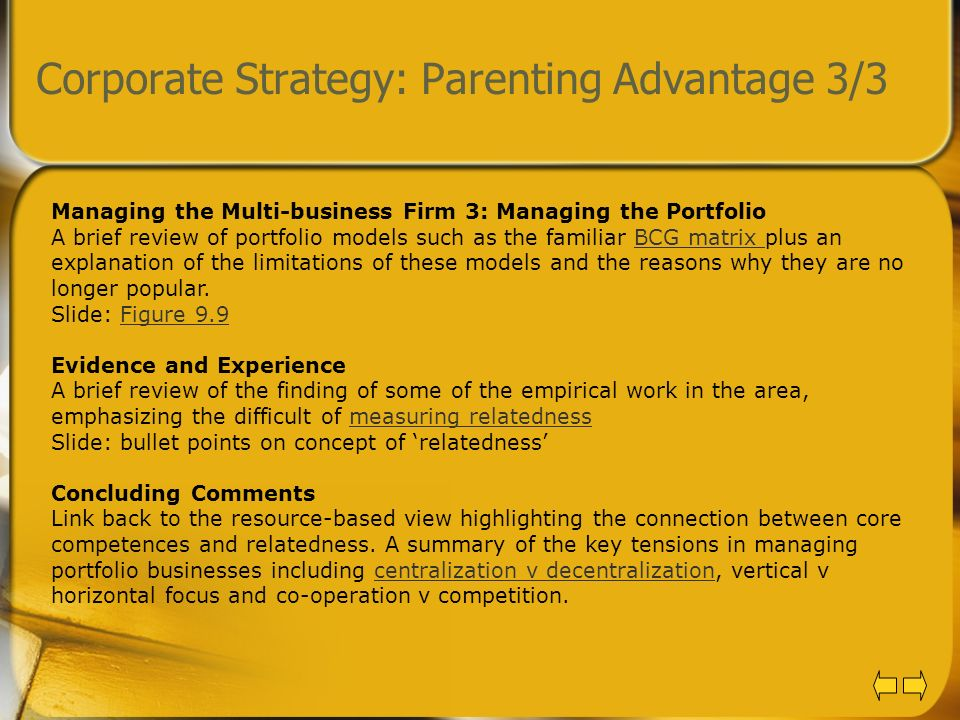 Corporate Strategy: Parenting Advantage 3/3