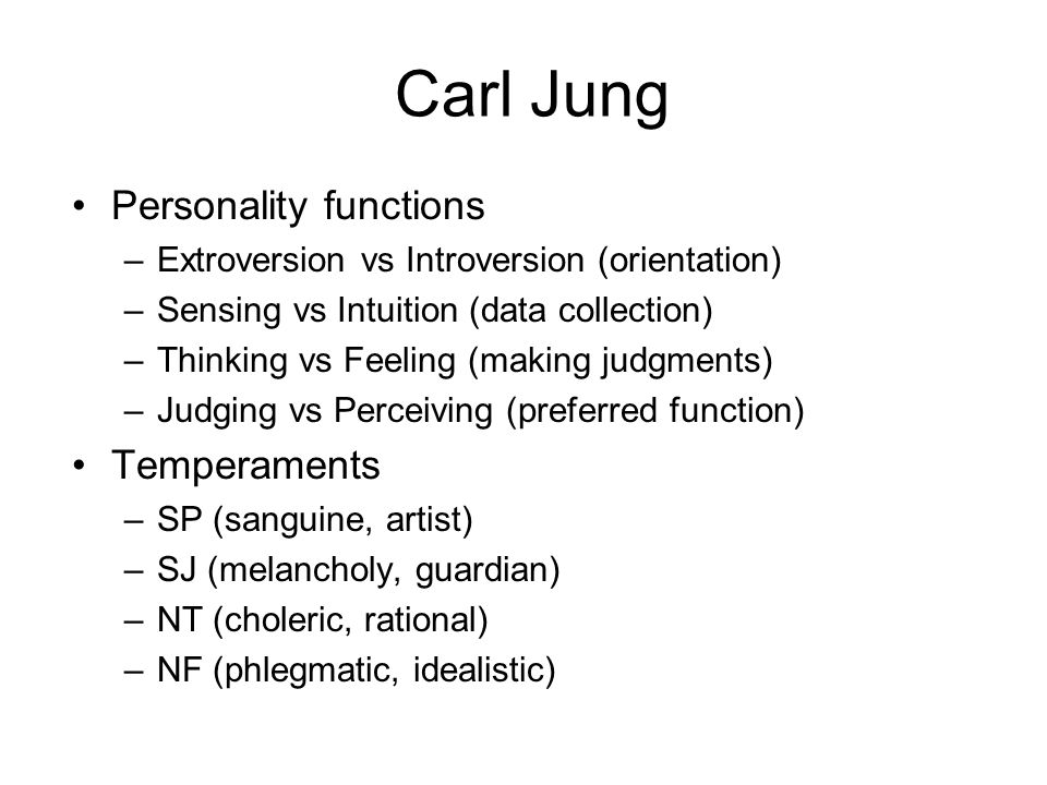 Carl Jung Personality functions Temperaments