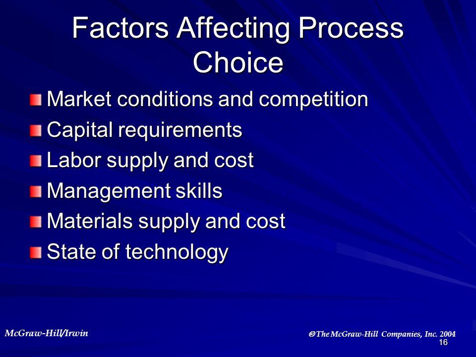 Factors Affecting Process Choice