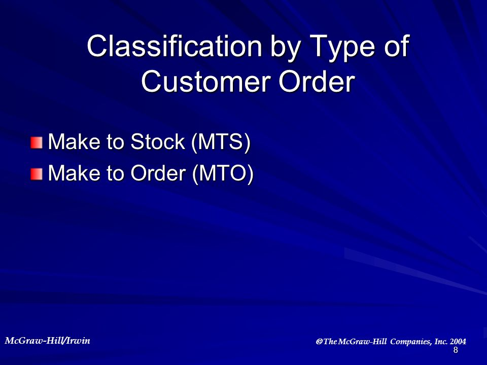 Classification by Type of Customer Order
