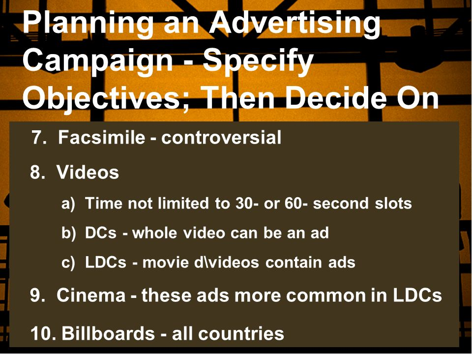 Planning an Advertising Campaign - Specify Objectives; Then Decide On
