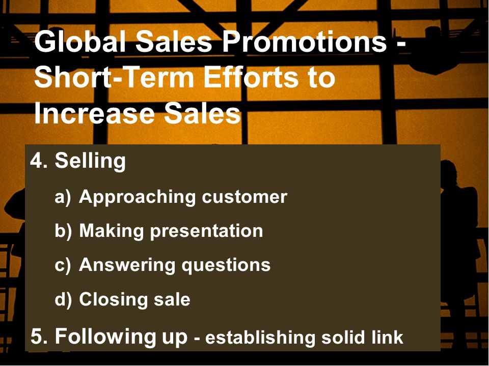 Global Sales Promotions - Short-Term Efforts to Increase Sales