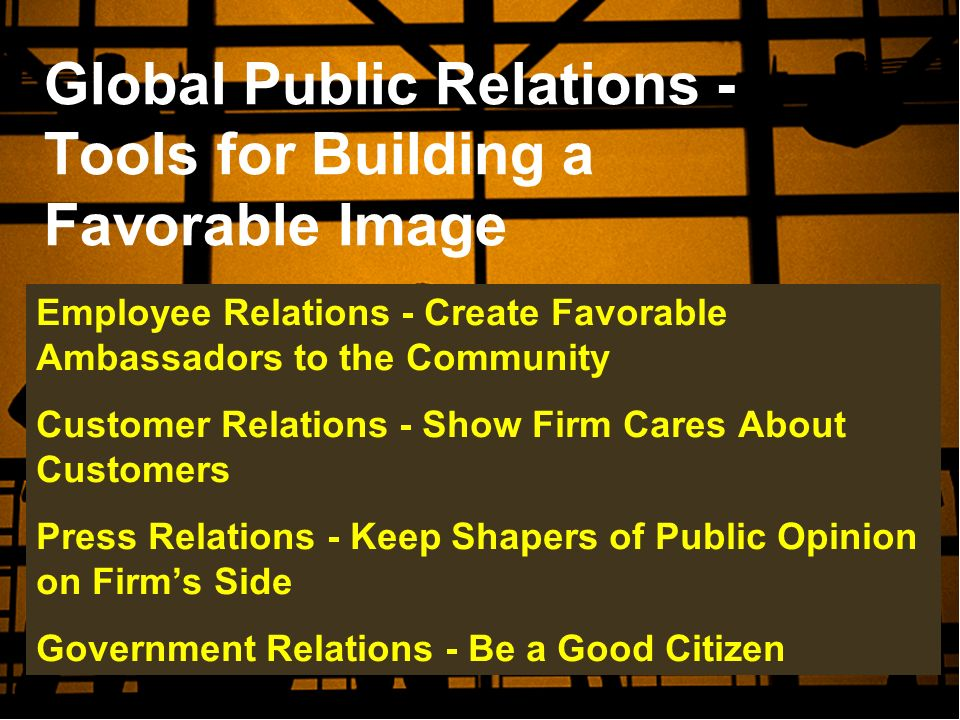 Global Public Relations - Tools for Building a Favorable Image