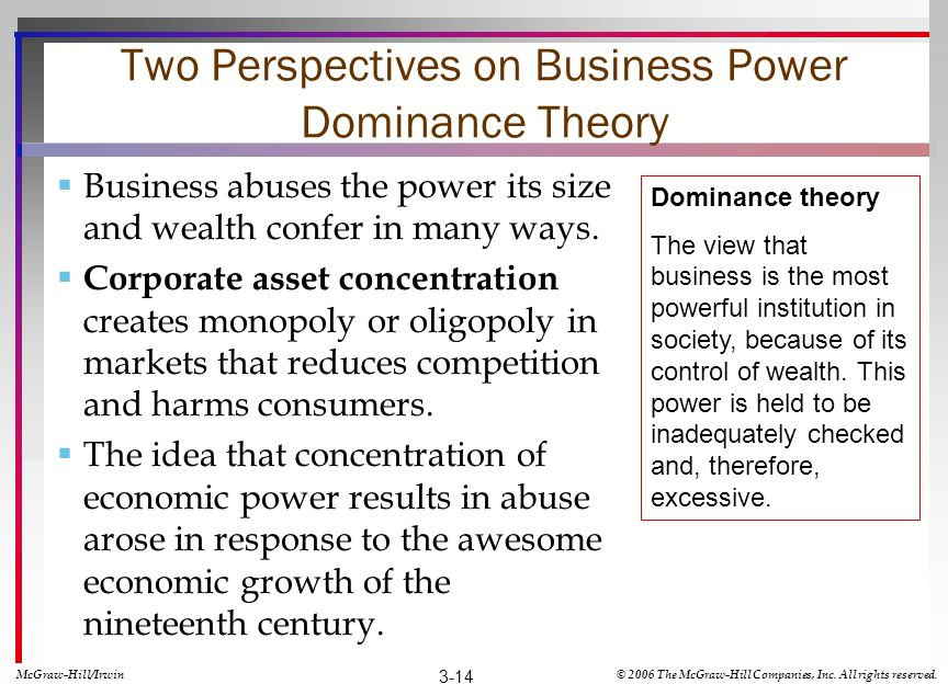 Two Perspectives on Business Power Dominance Theory