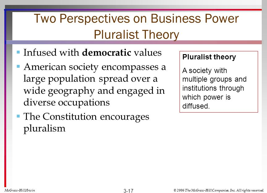 Two Perspectives on Business Power Pluralist Theory