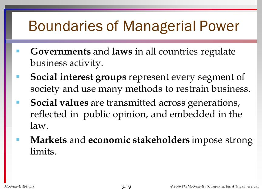 Boundaries of Managerial Power
