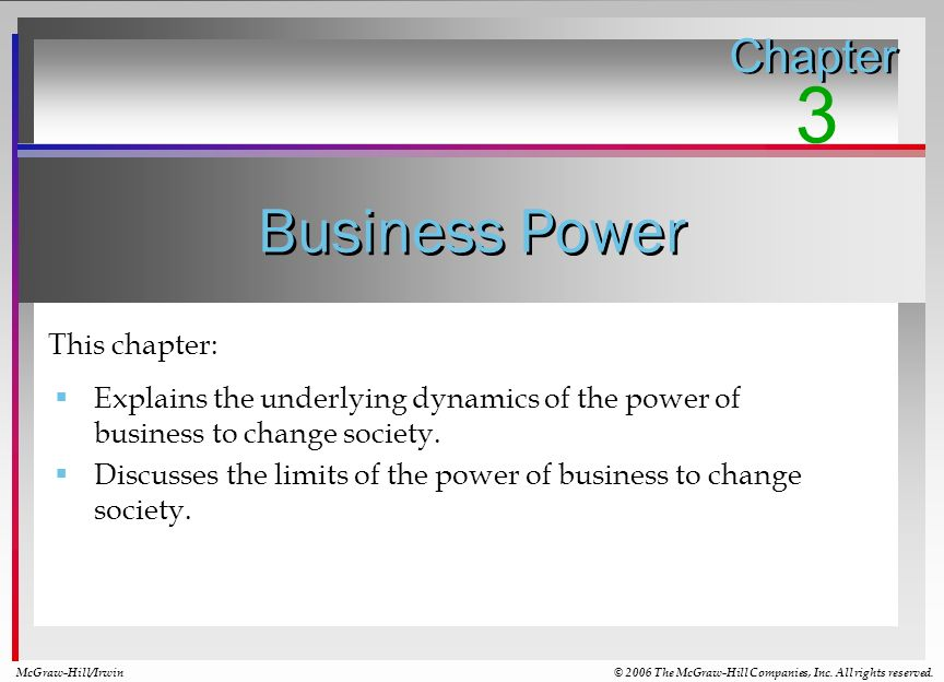 3 Business Power Chapter This chapter: