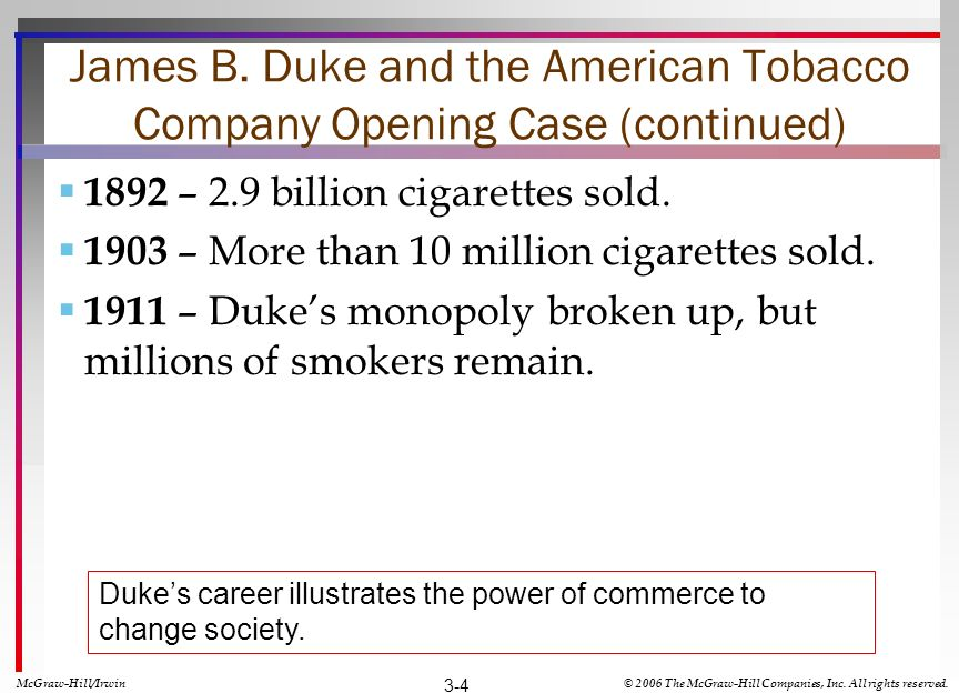 James B. Duke and the American Tobacco Company Opening Case (continued)