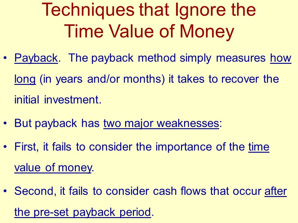 Techniques that Ignore the Time Value of Money