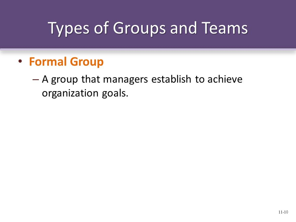 Types of Groups and Teams