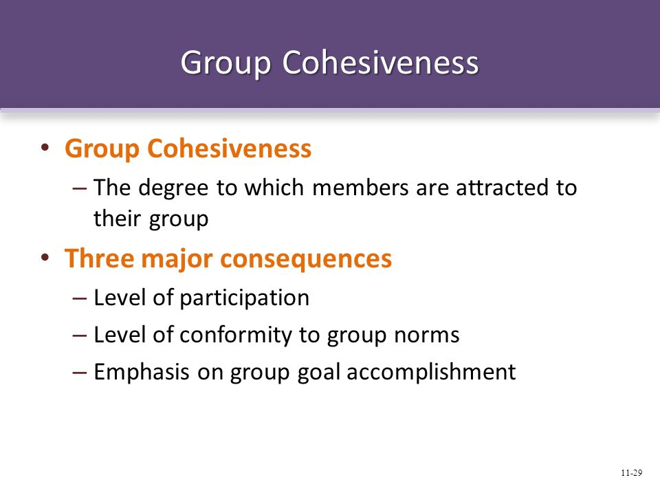 Group Cohesiveness Group Cohesiveness Three major consequences