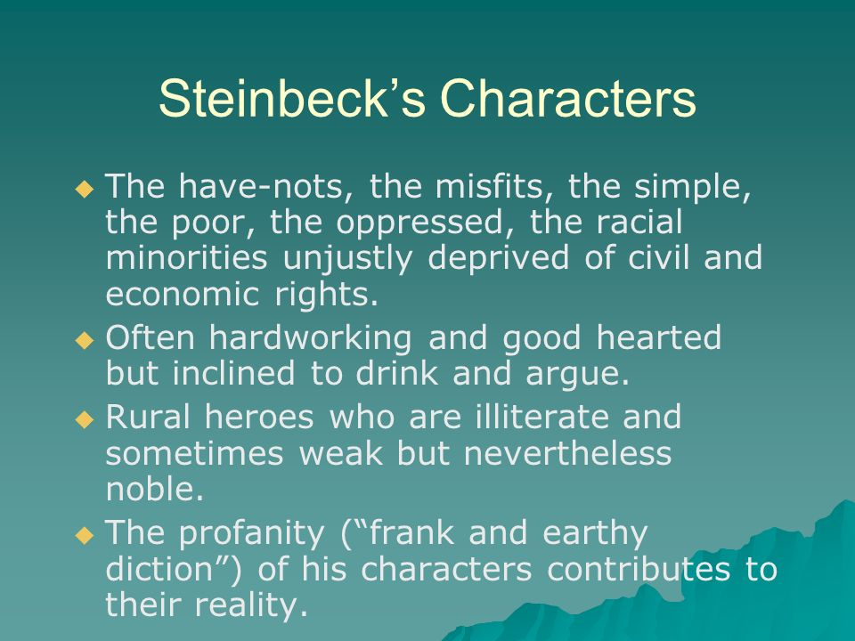of mice and men misfits Check out our top free essays on steinbeck s sympathies go out to the misfits the oppressed and the distressed to  in the novel of mice and men the.