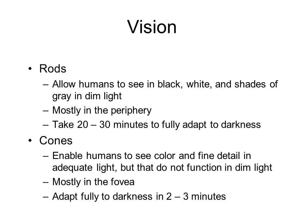 Vision Rods. Allow humans to see in black, white, and shades of gray in dim light. Mostly in the periphery.