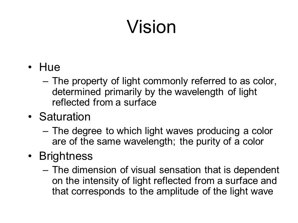Vision Hue Saturation Brightness