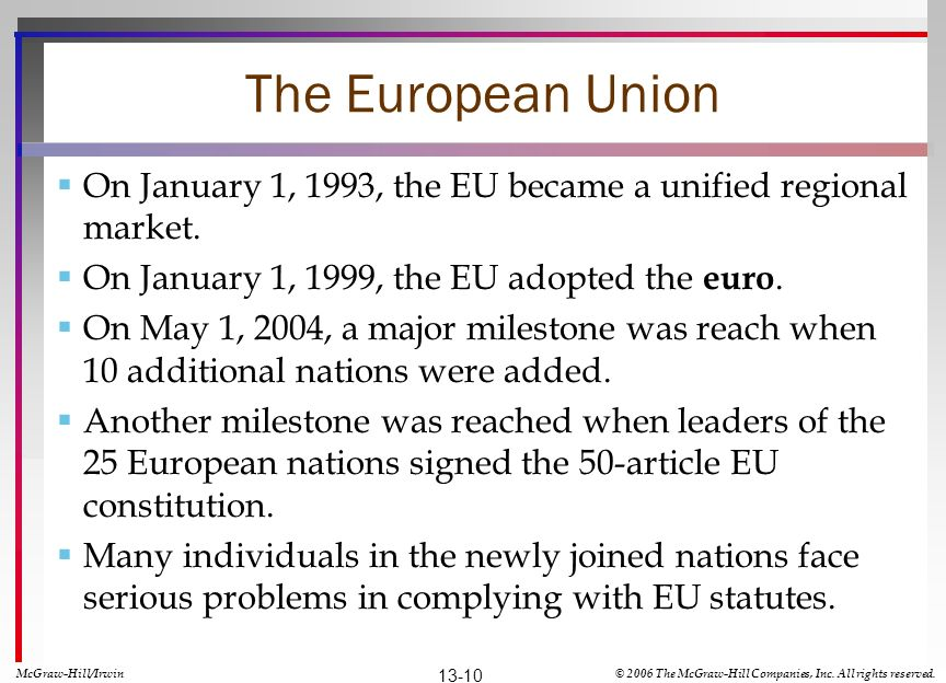 The European Union On January 1, 1993, the EU became a unified regional market. On January 1, 1999, the EU adopted the euro.